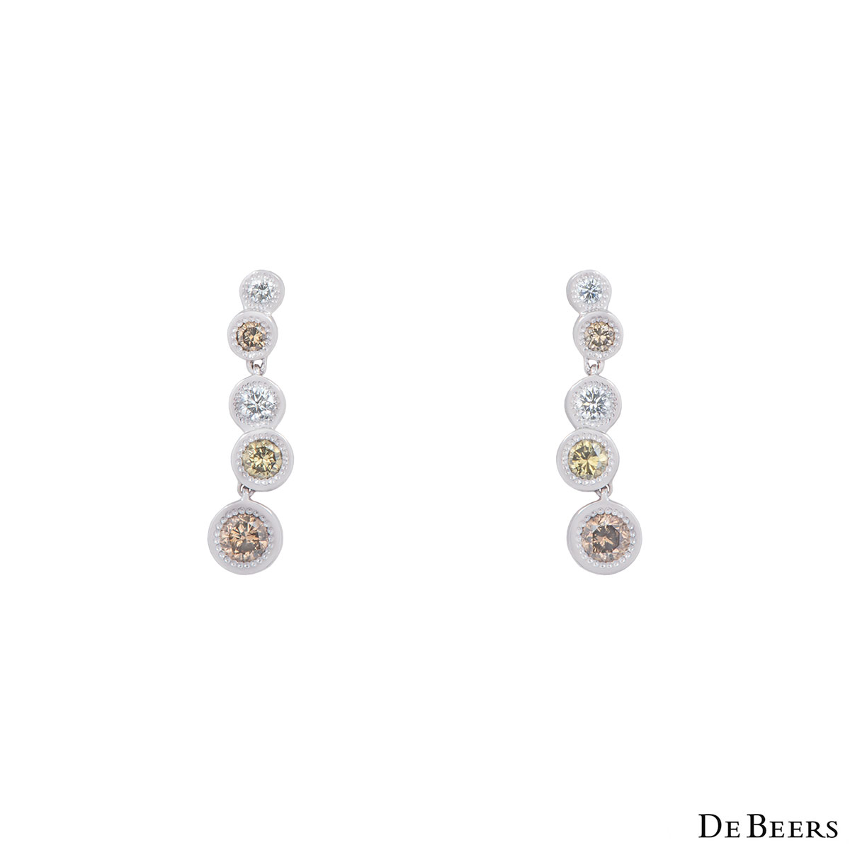De Beers White Gold Aura Love Journey Diamond Earrings 1.48ct G+/VS+
